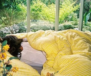 bed, flowers, and green image