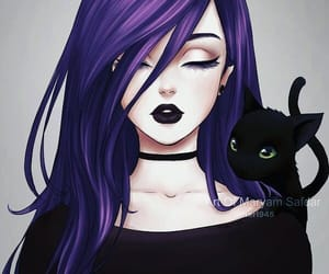 anime, black, and cat image