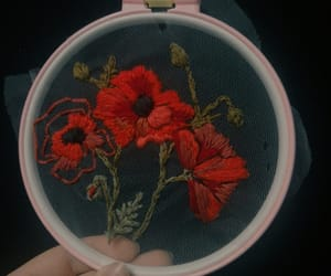 embroidery, flower, and red image
