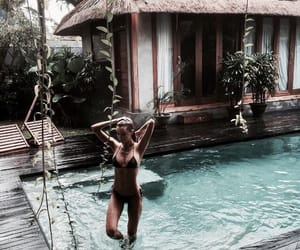 girl, summer, and pool image