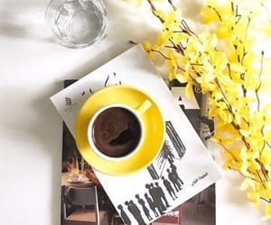 coffee, yellow, and flowers image