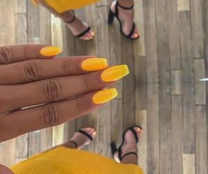 fashion, nails, and yellow image