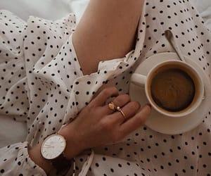 coffee, fashion, and polka dots image