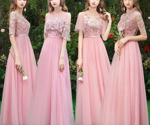girl, wedding party dress, and candy pink dress image