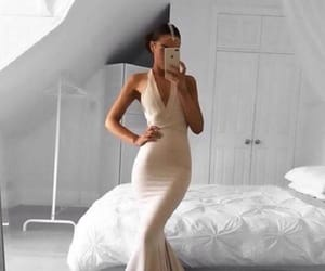 prom dress, simple prom dress, and champagne prom dress image