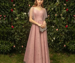 girl, classy dress, and pearl pink dress image