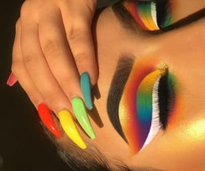 makeup, nails, and rainbow image