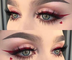 makeup, eyeliner, and red image