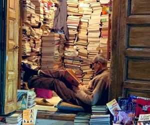 book, book store, and old man image