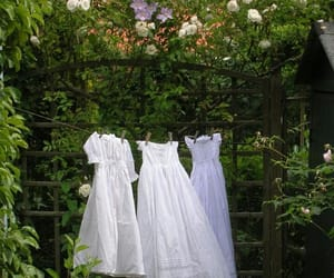 white, dress, and garden image