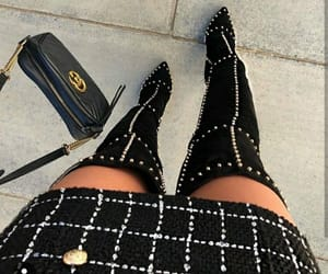 black, black boots, and black dress image