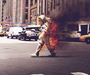 fire, astronaut, and hipster image