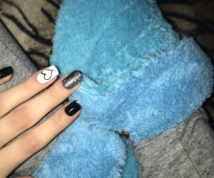 black nails, girl, and blue image