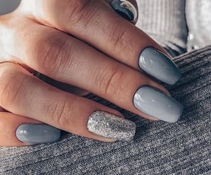 nails, grey, and glitter image