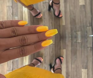 fashion, nails, and yellow image