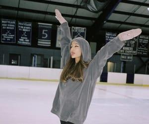 ice skating and ariana grande image