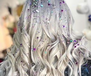 white and glitter hair image