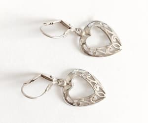 sterling silver, open heart earrings, and vintage jewelry image