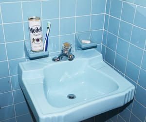 aesthetic, bathroom, and blue image