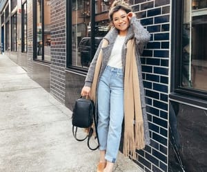 boyfriend jeans, girl, and outfit image