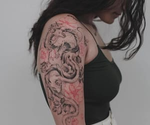 dragon, red, and tattoo image