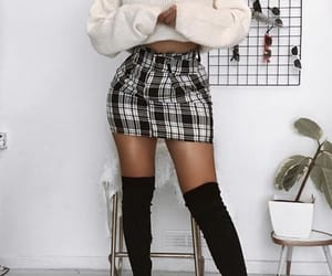 aesthetic, black and white, and skirt image