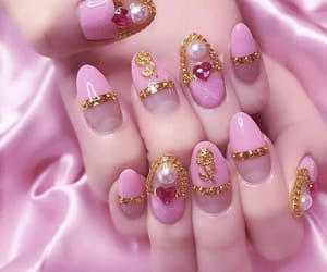 pink, nails, and acrylic image