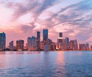 city, pink, and sea image