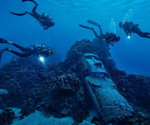 diving, easter island, and photography image