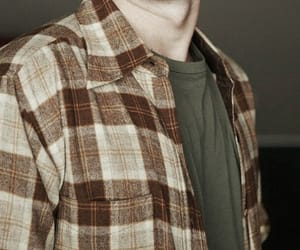 boy, flannel, and brown image