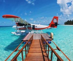 travel, airplane, and beach image