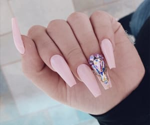 pink, pink nails, and nail inspo image