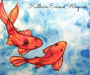 aquarell, fishes, and koi image