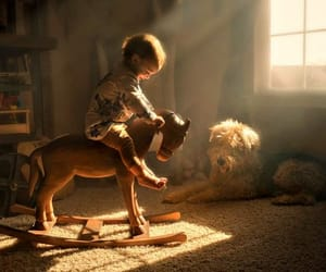having fun, toddler, and rocking horse image