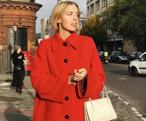 classic, red coat, and white tote bag image