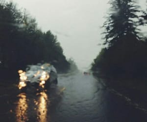 rain, car, and road image