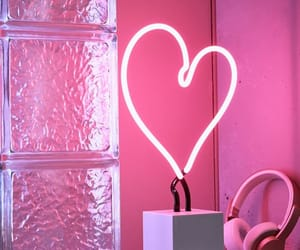 pink, heart, and light image