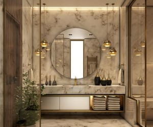 bathroom, home, and gold image
