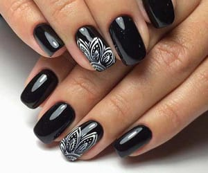 black, nails, and love image