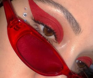 red, makeup, and girl image