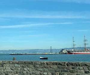 blue, blue sea, and ship image