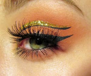 eyes, gold, and makeup image