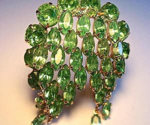 etsy, green glass brooch, and rhinestone brooch image