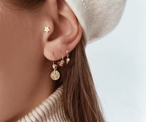 beige, earrings, and gold image