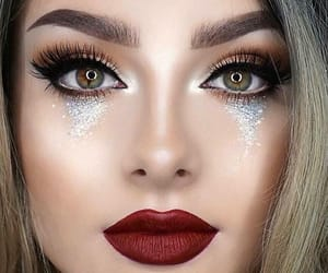 glitter, lipstick, and makeup image