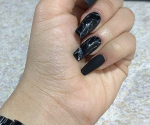 black nails, marble, and mate image