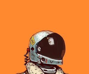 wallpaper, astronaut, and orange image