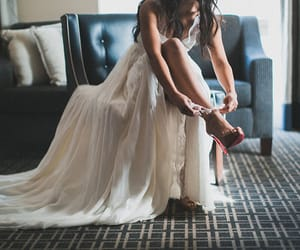 bride, red, and shoes image