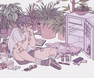 art, boy, and plants image