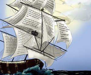 art, ship, and book image